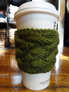 Free knitted woven cable coffee cup sleeve pattern. Go green and not waste paper by using your very own knitted coffee cup sleeve! Only at Purl Avenue.com!