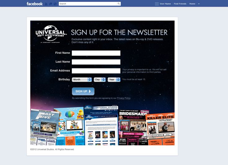 Universal - Social Media Newsletter Signup Page