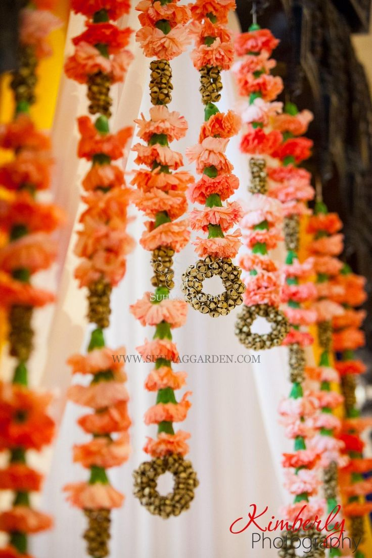 unique and creative Mandap decor, carnations, bells, Indian wedding, Suhaag Garden