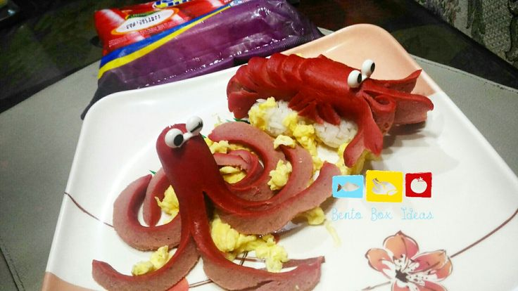 Kraken and the giant shrimp!  This is for the #TJBentoChallenge and #TJFamilyMatters bento making contest. My dear daughter ate so much hotdogs this week.  You can see more (close up) photos of the shrimp, and tips and how to make the shrimp and kraken at www.bentoboxideas.com  #bento #bentoph #bentoboxideas #charabento #charaben #kyaraben