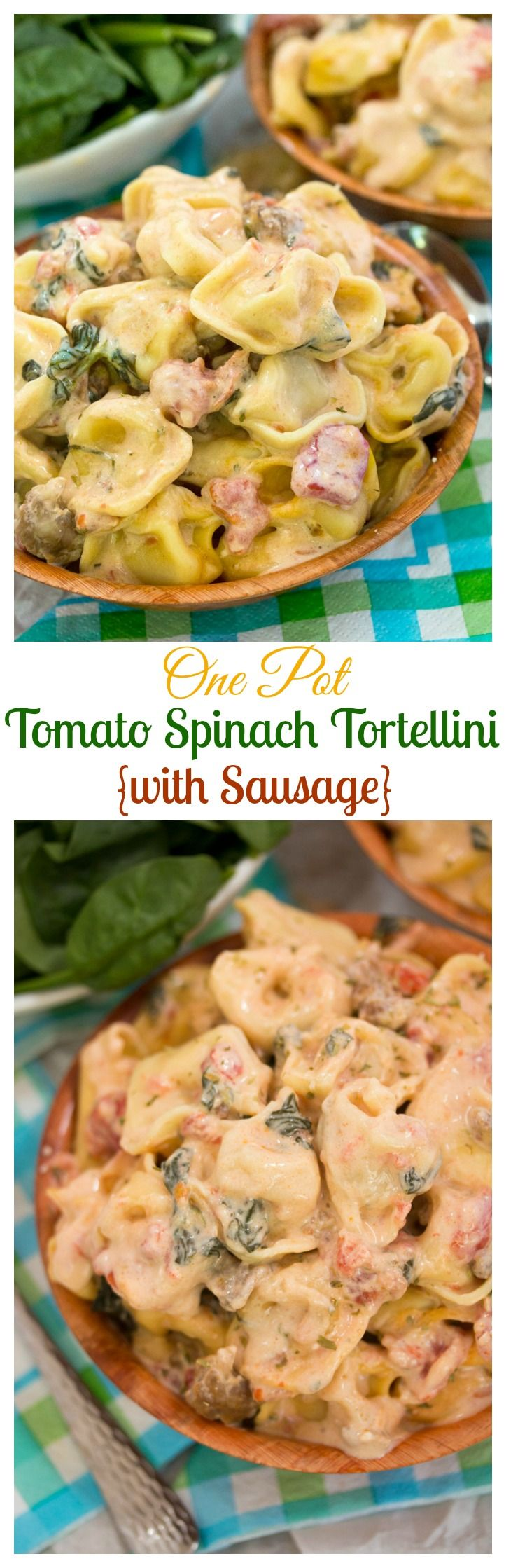 One Pot Tomato Spinach Tortellini {with Sausage}: Cheese-filled tortellini in a creamy sauce with tomatoes, spinach, and sausage, easily prepared in one pot or in the crock pot. (Ingredients Styling Crock Pot)