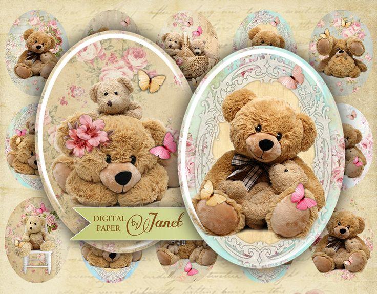 Teedy Bears imagem oval 30 x 40 mm ou 18 x 25 por bydigitalpaper