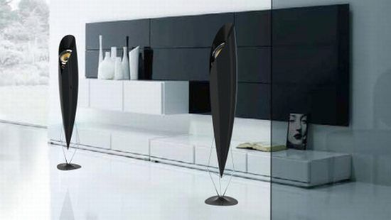 Carbon fiber home stereo speakers by Paul Stet: These beautiful home stereo speakers design by Paul Stet have been made with lightweight, high-strength carbon fiber.I love luxurious style!