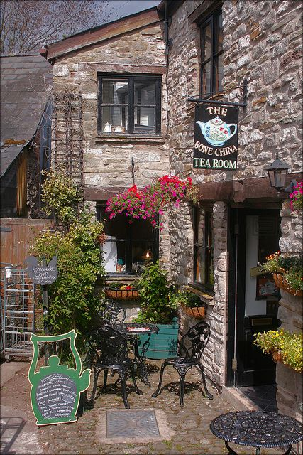 "Cozy little teashop in Hay-on-Wye, often described as ""the town of books"", in Powys, Wales"