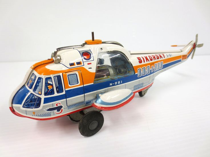 "Vintage Sikorsky S-61 Tin Toy Helicopter 10.5"", Airport Airway, TN Nomura Japan"