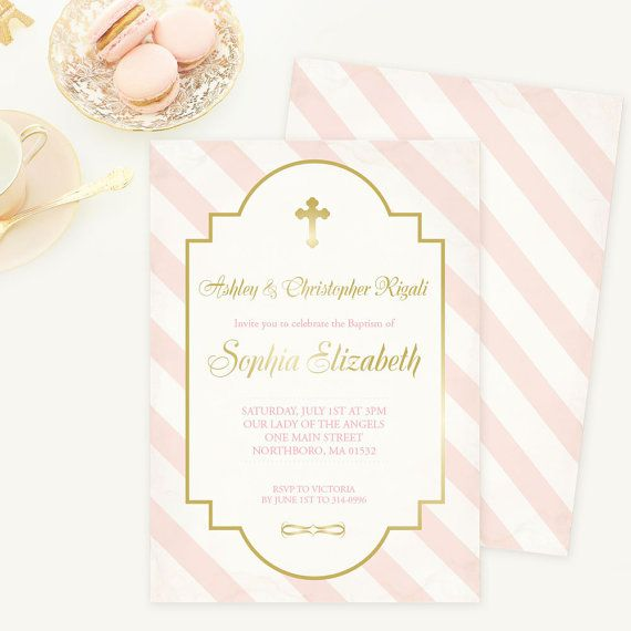The 46 best catholic and christian invitations images on pinterest baptism invitation pink and gold confirmation holy first communion invite christening girl printable religious party cross diy stopboris Image collections
