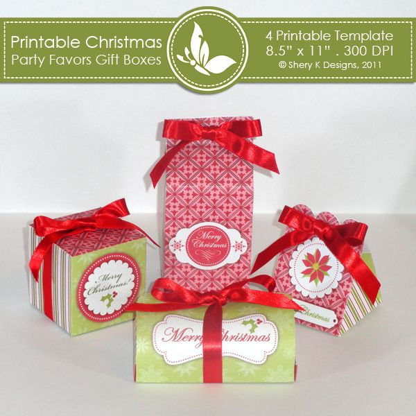 Christmas party favors gift boxes  This listing is for 4 printable template for making your own party favors box.    The dimensions:    box 1: 2.5 x 2.5 x 5.5 inch    box 2: 2.5 x 2.5 x 2.5 inch    box 3: 2.5 x 2.5 x 3 inch    box 4: 4 x 2 x 2 inch    The files are in JPEG format, 300 DPI and to be printed on 11 x 8.5 inch size paper.    Zip folder includes: 4 Printable template, 4 Instruction.    Simply print the file on white card stock, cut the template out and fold.    Great for christmas parties and dinners and so much more.: Gift Boxes, Favors Gifts, Christmas Parties Favors, Christmas Party Favors, Card, Printable Christmas, Teas Parties, Gifts Boxes, Christmas Gifts