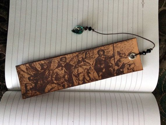King and His Men Historical Illustration Leather Bookmark with Tail