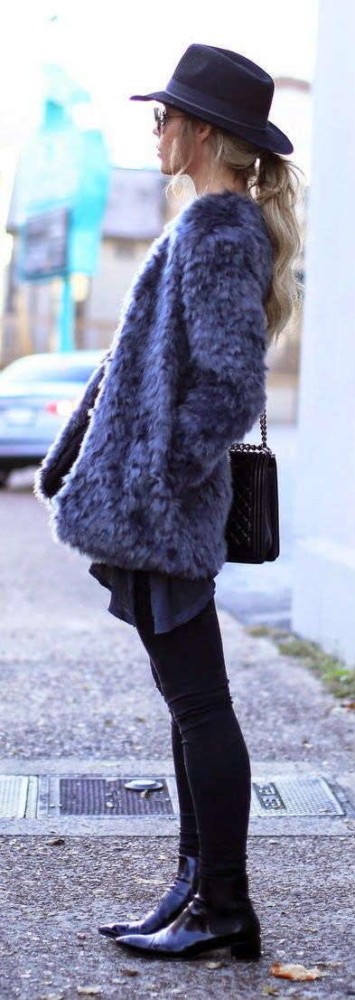 Daily New Fashion : Happily Grey - Faux Fur Open Front Jacket + Alina Colored Stretch Skinny Jeans.