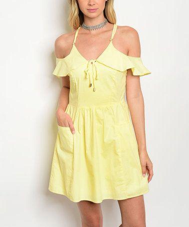 Loving this Light Yellow Tie-Neck Ruffle-Sleeve Off-Shoulder Dress on #zulily! #zulilyfinds