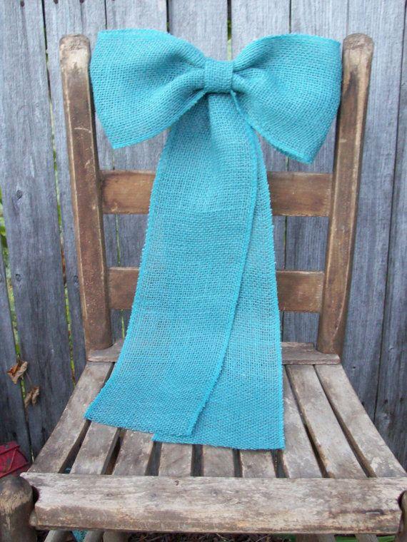 Pew azul arco Aqua Pew decoraciones arpillera azul arcos