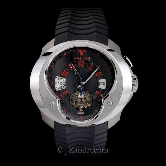Watch: Franc Vila FVa5 Universal Time Zone (UTC) World Timer GMT - Black Meteorite Dial w. Red Indices