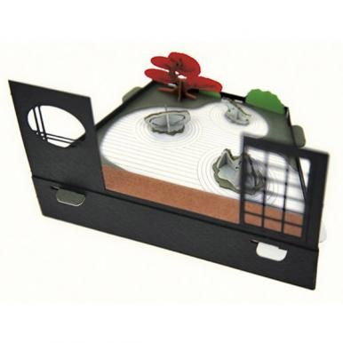 [3D Paper Craft] Diorama Karesansui Japanese Garden Karesansui is a type of dry Japanese garden expressing the movement of water using stones, pebbles, plants and height difference. The diorama expresses the karesansui garden looking from inside a room with husuma sliding door and round window.