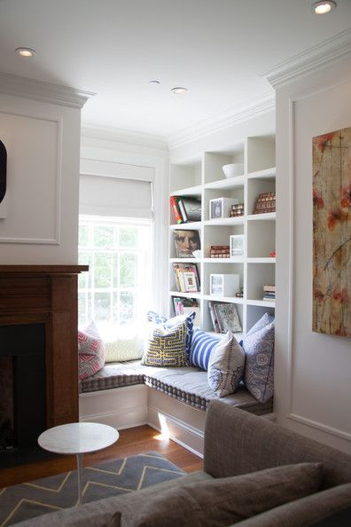 The Book Nook - love the combination of banquette and bookcase!