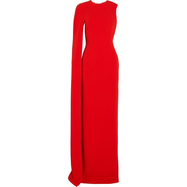 Stella McCartney Cecilia cape-effect cady gown ($2,765) ❤ liked on Polyvore featuring dresses, gowns, stella mccartney, red, red evening gowns, red going out dresses, red ball gown, empire gown and party gowns