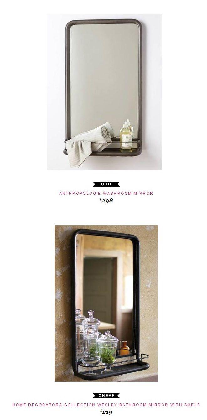 Anthropologie Washroom Mirror 298 Vs Home Decorators Collection Wesley Bathroom Mirror With Shelf 219
