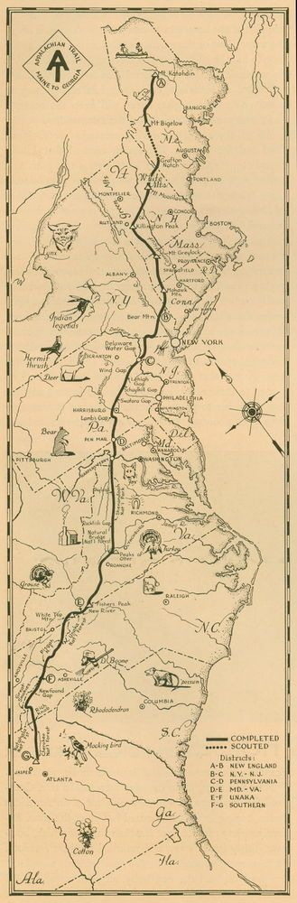 Vintage 1934 popular APPALACHIAN HIKING TRAIL map perfect for framing ME, to GA. #APPALACHIANTRAIL