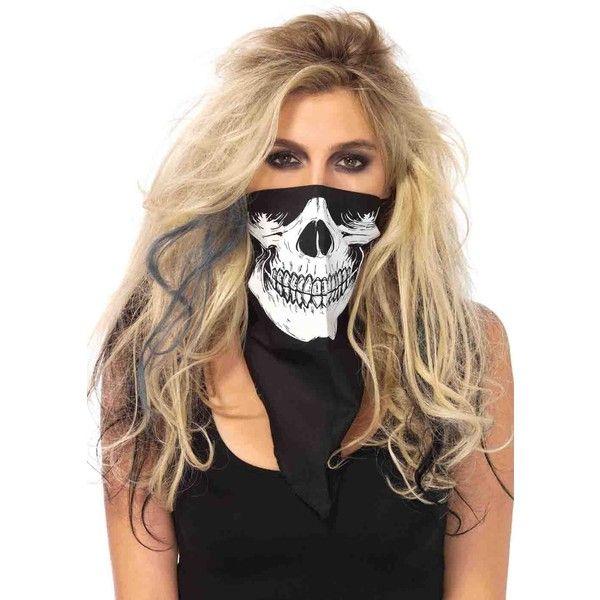 Black skull bandana (13 CAD) ❤ liked on Polyvore featuring accessories, skull bandana and skull handkerchief