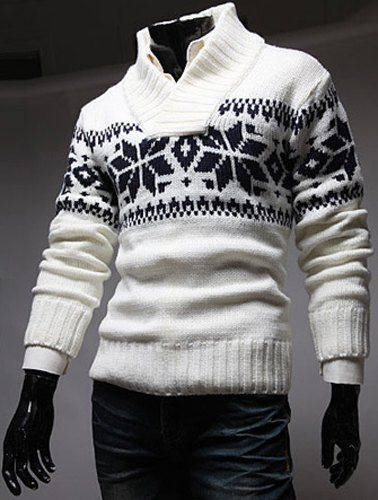 Slimming Trendy Stand Collar Christmas Snowflake Jacquard Long Sleeve Polyester Sweater For Men