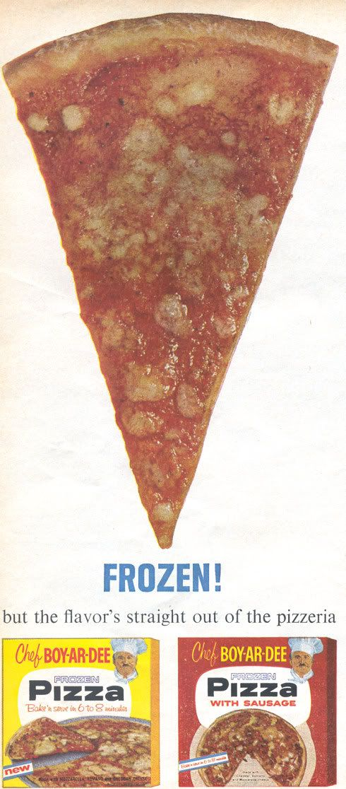Chef Boyardee 1963 frozen pizza. My first taste of pizza.