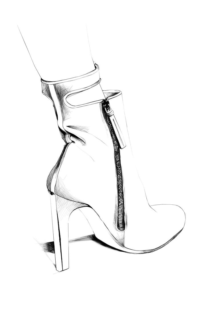 Fashion illustration - shoe sketch; black and white fashion drawing // Caroline Andrieu