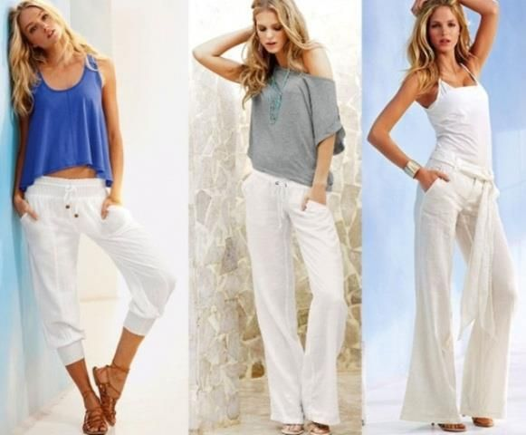 Белая летние брюки