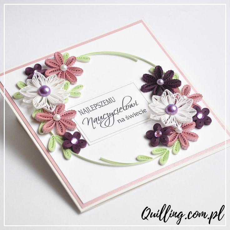 quilling, husking, handmade, greeting card, DIY, for teacher, paperart, quilling.com.pl
