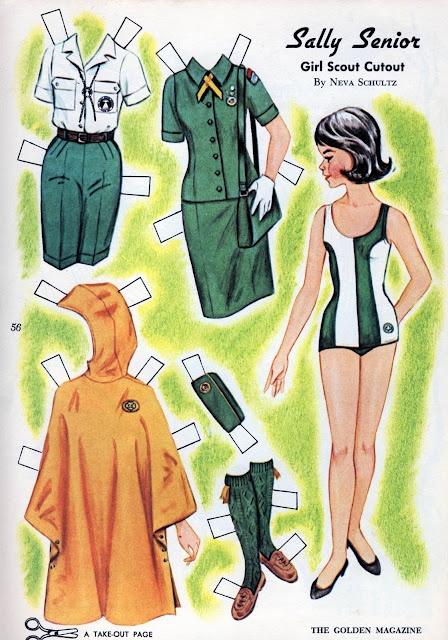 Golden magazine paper doll by Neva schultz, July 1965