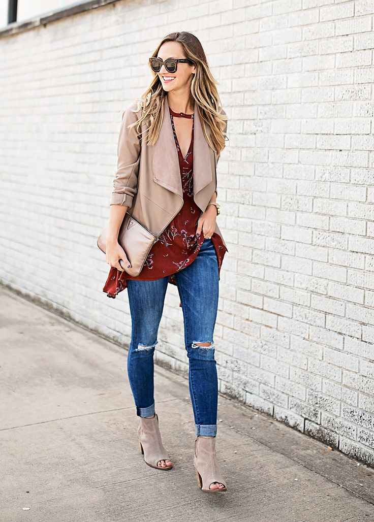 draped front jacket + floral tunic // LivvyLand