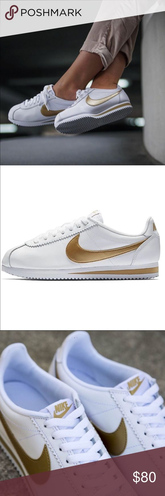 NEW ✨ NIKE CORTEZ WOMENS size 8 New never worn   NIKE CORTEZ WHITE LEATHER   WITH GORGEOUS GOLD SWOOSH.  Ships same or next day, ORIGINAL BOX, NO LID. smoke free home.  PRICE IS FIRM. 100% authentic purchased directly from NIKE ⚡️ reasonable offers are considered through the offer button only. Nike Shoes Athletic Shoes