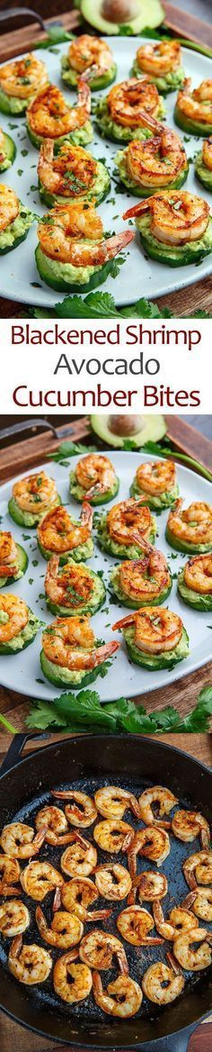Light and tasty blackened creole seasoned shrimp on crisp and juicy cucumber slices with cool and creamy avocado and flavour packed remoulade sauce!