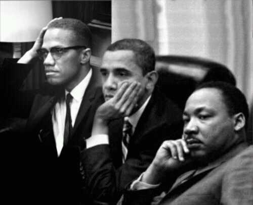 History in the making M.L. King, B. Obama, Malcolm X
