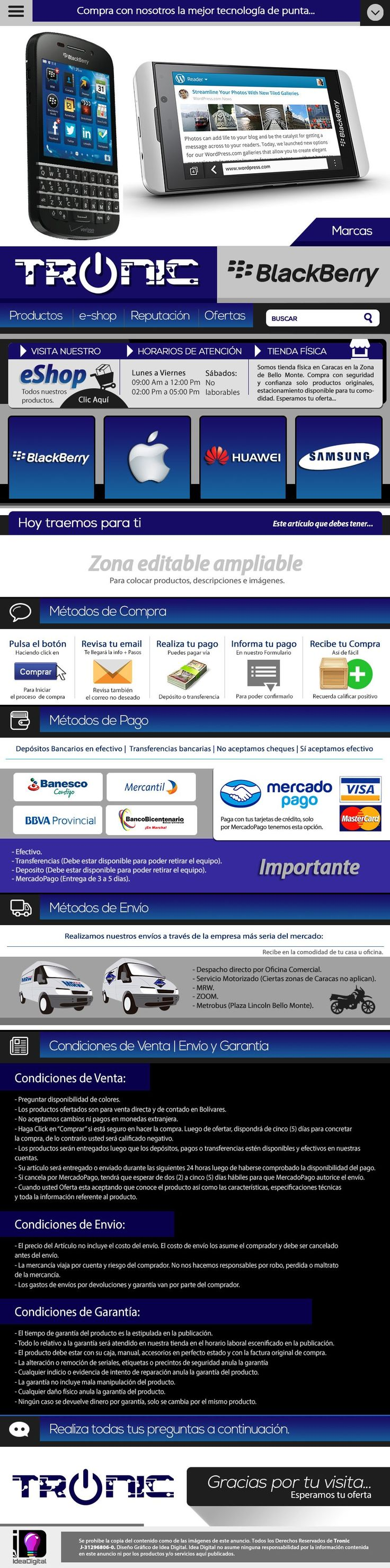 Diseño Web en Venezuela Plantillas Mercadolibre SEO Posicionamiento | Plantilla Editable Mercadolibre Tronic 2014