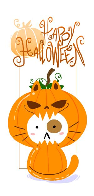 Cute Cat Halloween iPhone Wallpaper