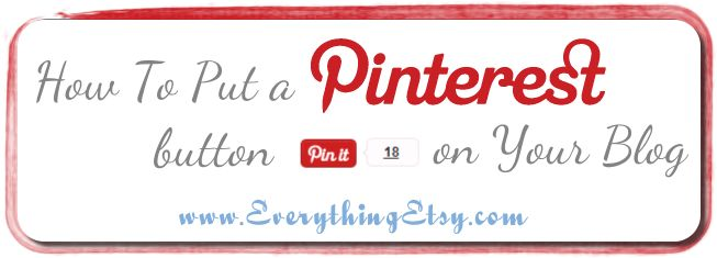 "How to add a ""Pin it"" button in your blog post...for all you Pinterest nuts like me! :)"