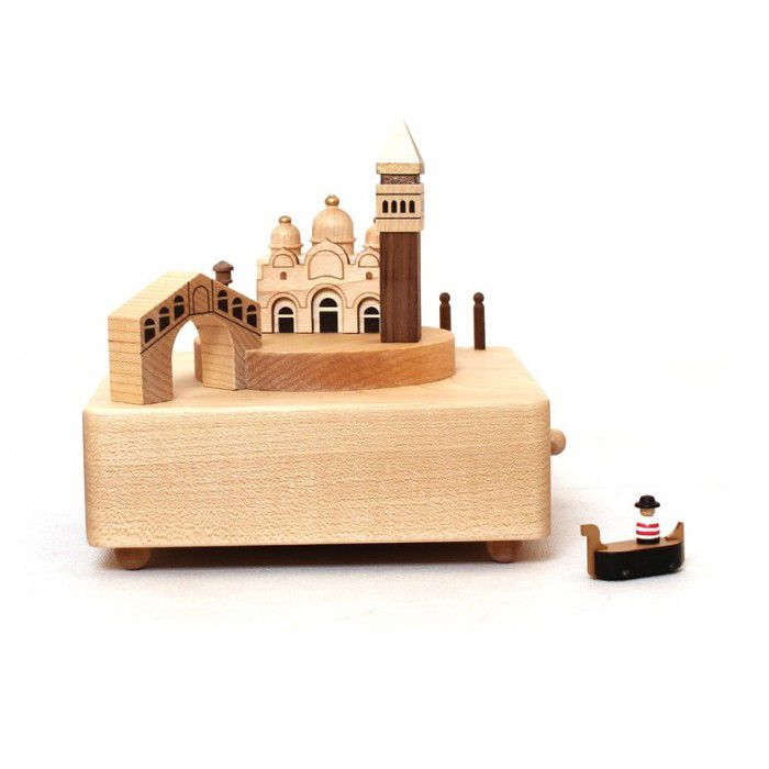 """This unique fine  Venice Moving Wooden Musical Box comes with a miniature boat that circles around the Venice landscape according to the rhythm of the music """"Lovers Concerto"""". Thanks to its trademark"""
