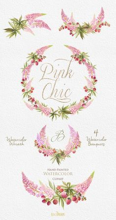 Wedding Watercolor Wreath & Bouquets. Flowers pink от ReachDreams