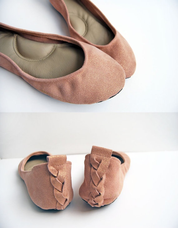 Blush pink ballerina flat shoes nude gold sparkle