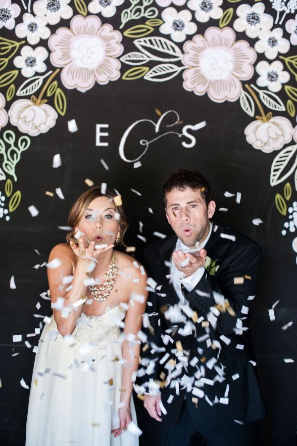 Minted's New Wedding Reception Decor Packages, botanical wreath theme, photo booth backdrop, floral, chalkboard, initials, monogram