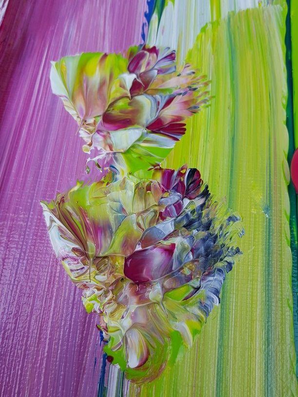 Indi's Dream - 180 x 100 x 4,5 | 1. Schilderijen: KLEUR -bont | Galerie Taupe STUDIO 's-Hertogenbosch. Groot abstract schilderij met detail in paars en limoen / lime groen.