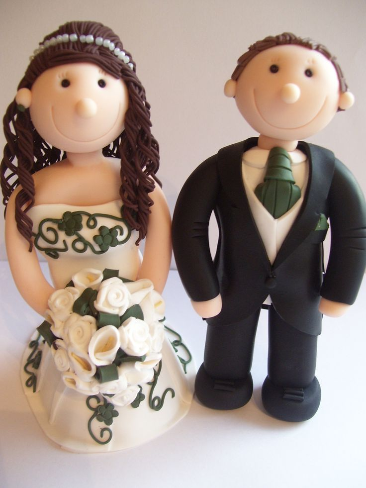 Wedding cake toppers fully personalised and designed using polymer clay.