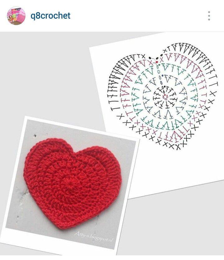 89 best Crochet hearts/stars images on Pinterest | Corazones de ...