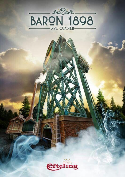 Efteling wallpaper van de poster van de nieuwe dive coaster baron 1898