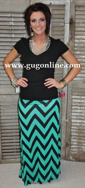 Giddy Up Glamour  www.gugonline.com  $29.95  Now Chevron It Out Mint and Black Maxi Skirt