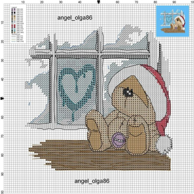 Adorable little bear sitting on a window seat looking out the window chart and finished picture on site w/FREE chart