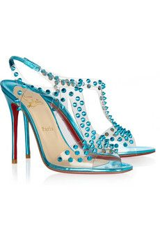 Christian Louboutin J-Lissimo 100 spiked Metallic Leather Sandals...net-a-porter