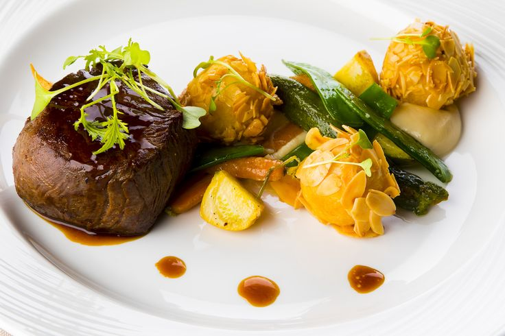 Angus Filet Mignon with Almond-Potato Ball, Celery Puree, and Roasted Vegetables from the Stradivari Restaurant
