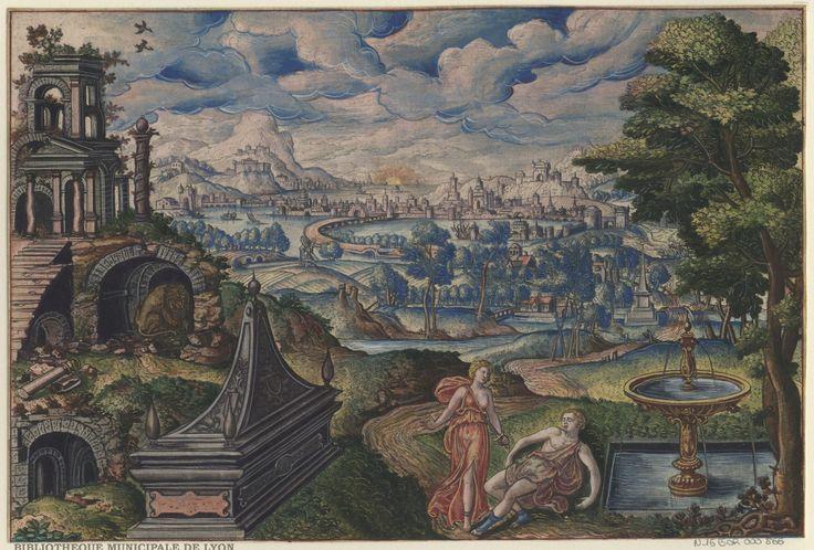 Pyramus and Thisbe by Peeter van der Borcht, 16th century. Bibliothèque Municipale De Lyon, Public Domain