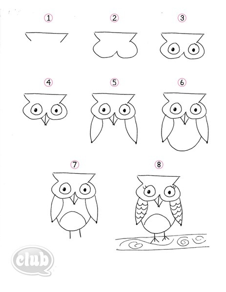 Easy step-by-step on how to draw an owl