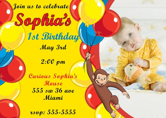 Images Of Curious George 1st Birthday Invitations